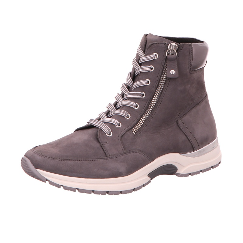 Schnürstiefelette Stiefel Boots Damen Grau Neu