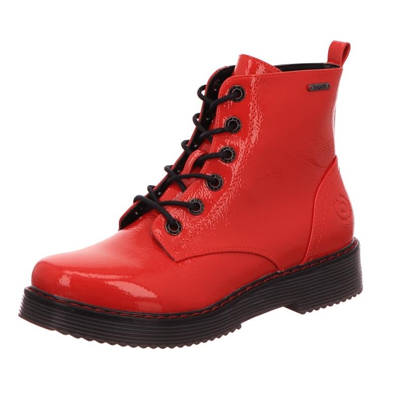 Schnürstiefel Stiefel Boots Damen Rot Neu Neria