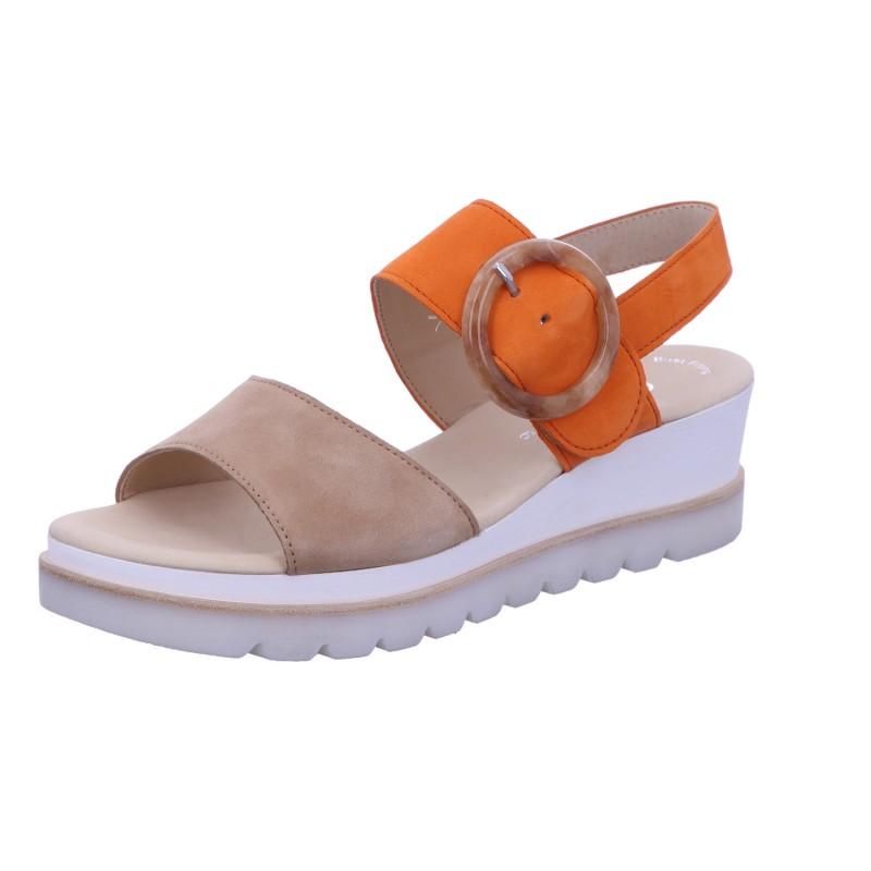 Sandale Schnalle Freizeit Damen Braun-Orange