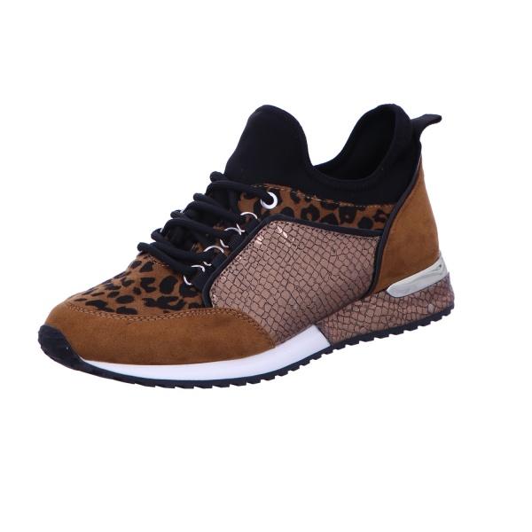 Sneaker Sportschuh Schnürschuh Damen Braun Leopard