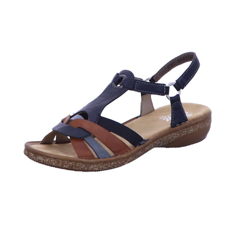 Sandalette Absatzschuh Sommerschuh Damen Blau Neu