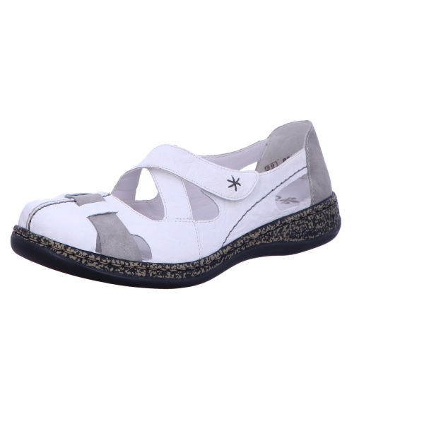 Slipper Sandale Klettverschluss Damen Weiß Neu