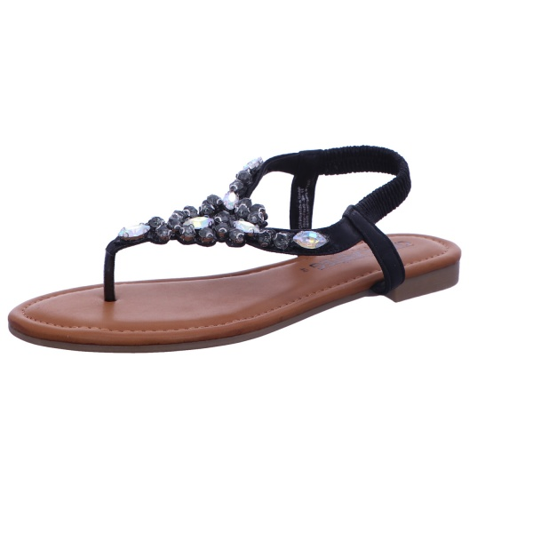 Sandale Zehentrenner Freizeit Damen Schwarz