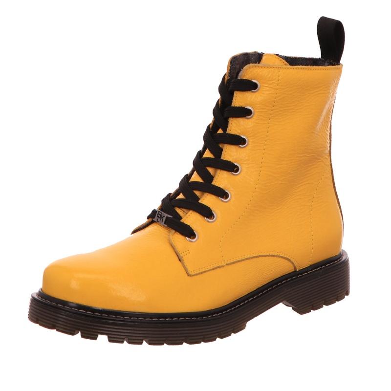 Schnürstiefelette Stiefel Boot Damen Gelb Neu