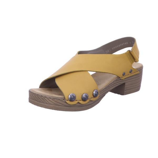 Sandalette Absatzschuh Sommerschuh Damen Gelb Neu