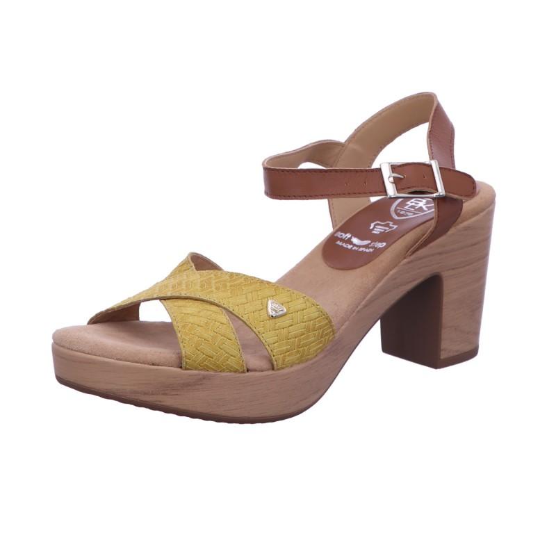 Sandalette Schnalle Freizeit Damen Gelb-Kombi