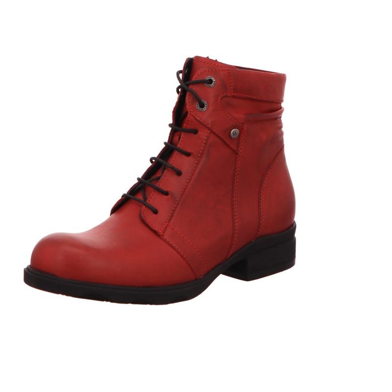 Schnürstiefelette Stiefel Boots Damen Rot Neu