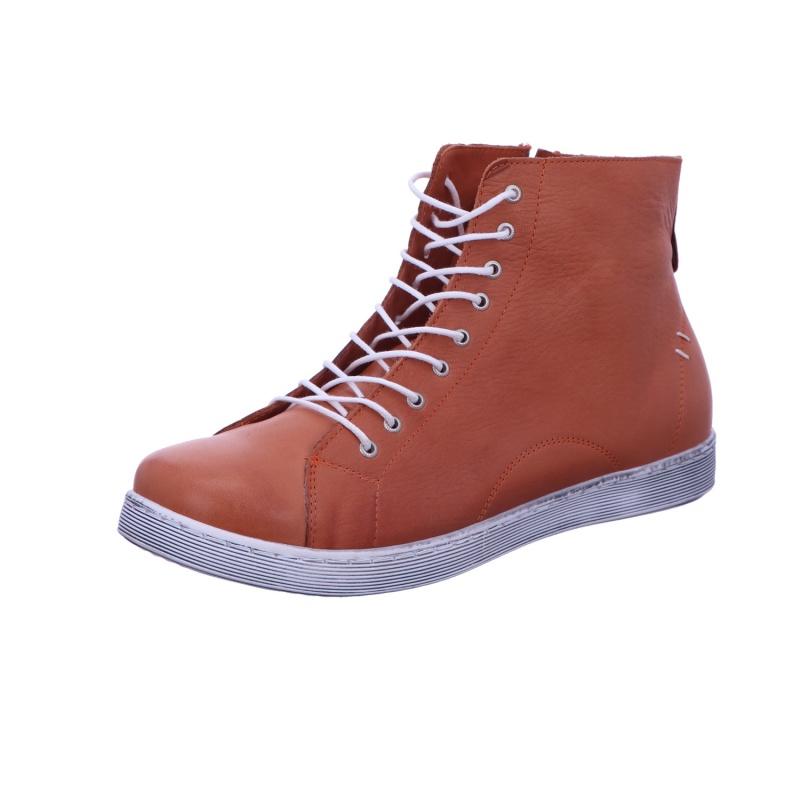 Schnürstiefelette Stiefel Boots Damen Orange Neu
