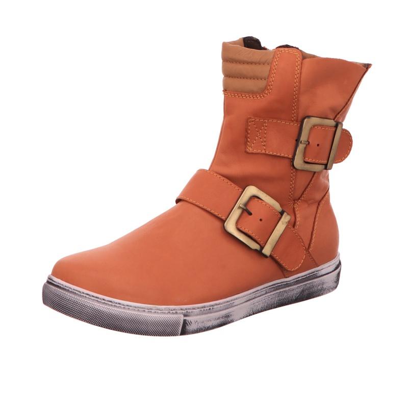 Schlupfstiefelette Stiefel Boots Damen Orange Neu