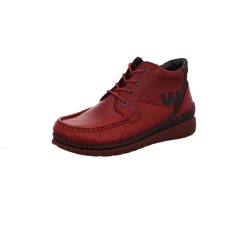 Schnürstiefelette Stiefel Boots Damen Rot Zoom Neu