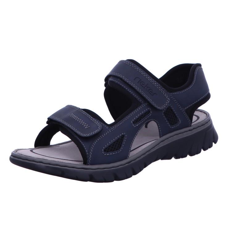 Herren Sandale Sommer Klettverschluss Blau Neu
